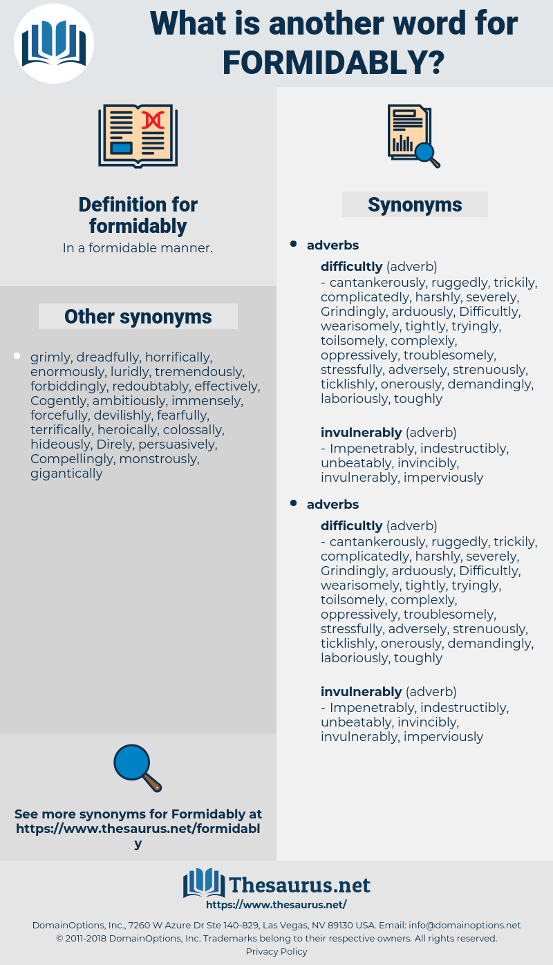 formidably, synonym formidably, another word for formidably, words like formidably, thesaurus formidably