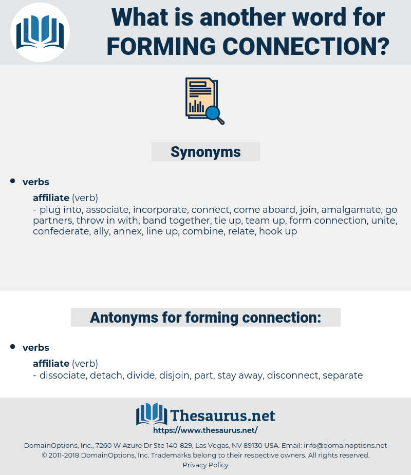 forming connection, synonym forming connection, another word for forming connection, words like forming connection, thesaurus forming connection