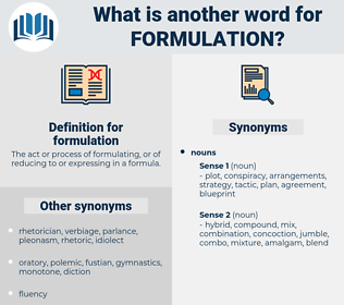formulation, synonym formulation, another word for formulation, words like formulation, thesaurus formulation