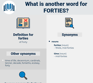 forties, synonym forties, another word for forties, words like forties, thesaurus forties