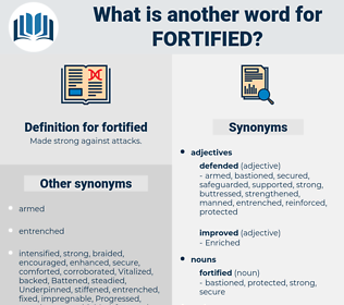 fortified, synonym fortified, another word for fortified, words like fortified, thesaurus fortified