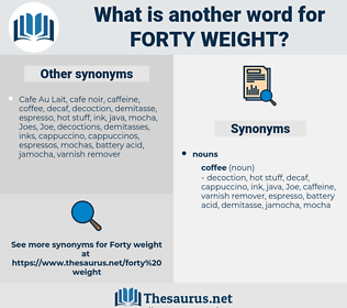 forty weight, synonym forty weight, another word for forty weight, words like forty weight, thesaurus forty weight