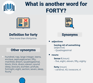 forty, synonym forty, another word for forty, words like forty, thesaurus forty
