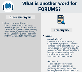 Forums, synonym Forums, another word for Forums, words like Forums, thesaurus Forums
