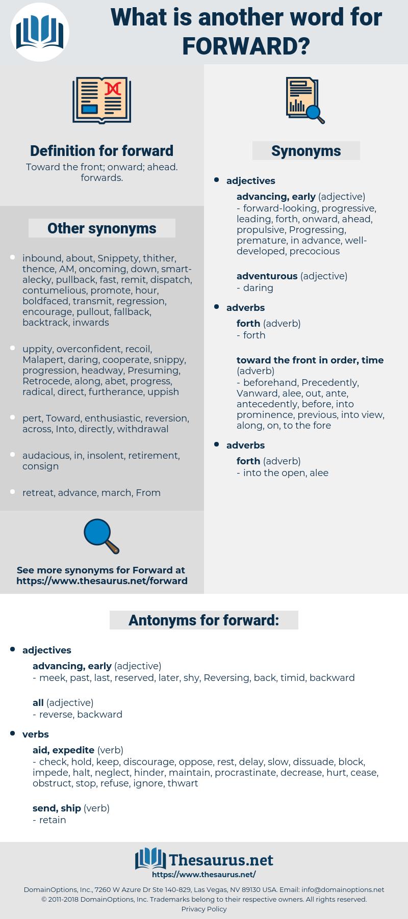 forward, synonym forward, another word for forward, words like forward, thesaurus forward