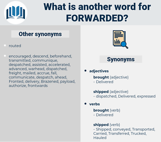 Forwarded, synonym Forwarded, another word for Forwarded, words like Forwarded, thesaurus Forwarded