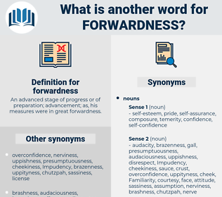 forwardness, synonym forwardness, another word for forwardness, words like forwardness, thesaurus forwardness