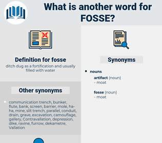 fosse, synonym fosse, another word for fosse, words like fosse, thesaurus fosse
