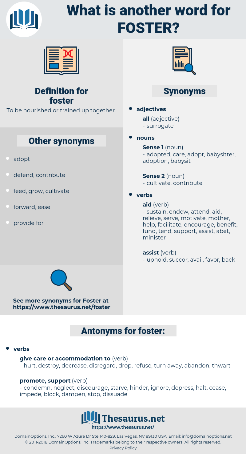 foster, synonym foster, another word for foster, words like foster, thesaurus foster