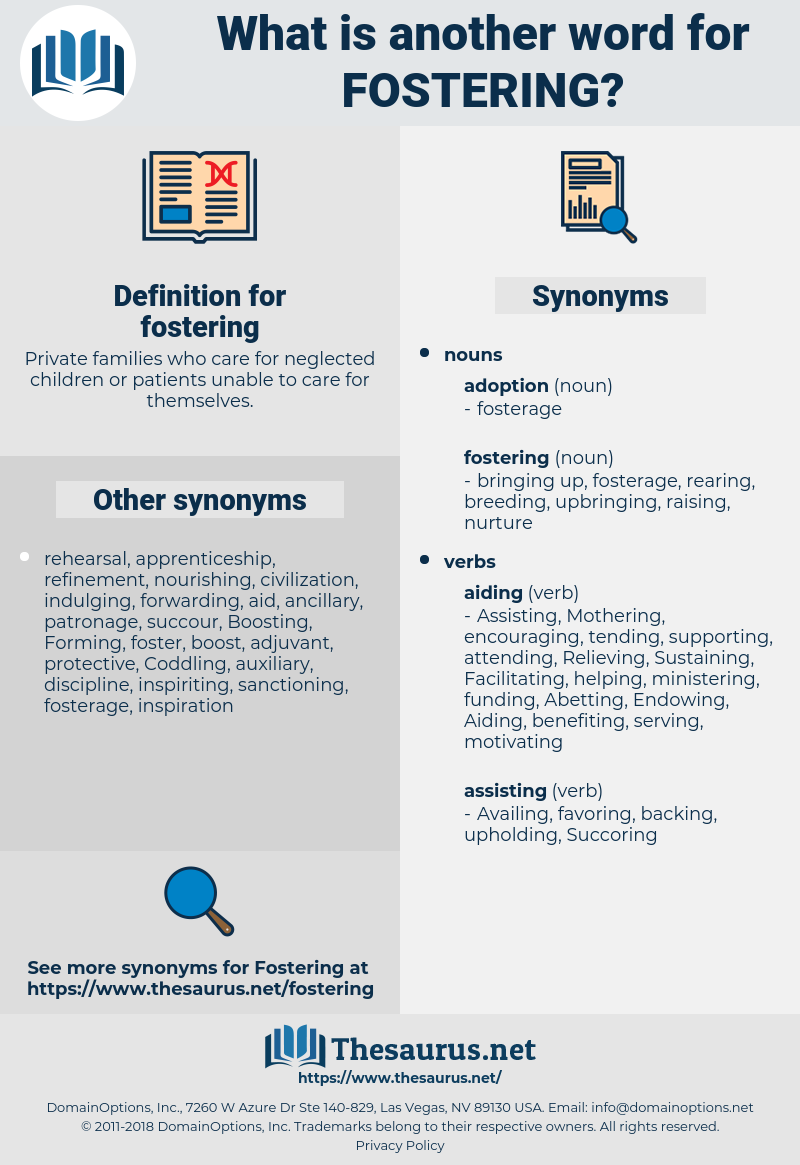 fostering, synonym fostering, another word for fostering, words like fostering, thesaurus fostering