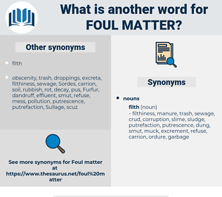 foul matter, synonym foul matter, another word for foul matter, words like foul matter, thesaurus foul matter