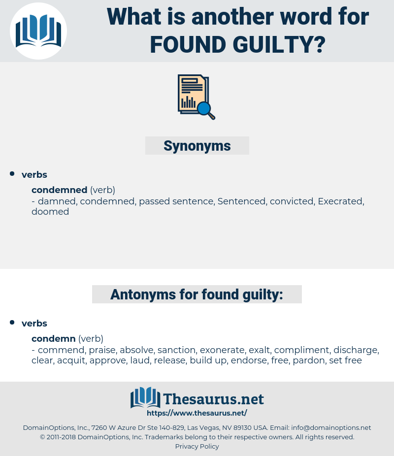 found guilty, synonym found guilty, another word for found guilty, words like found guilty, thesaurus found guilty