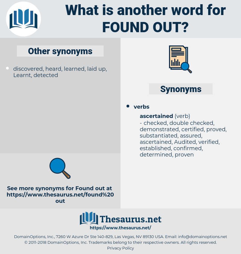 found out, synonym found out, another word for found out, words like found out, thesaurus found out