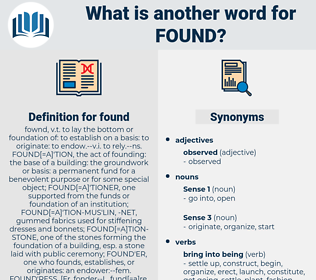 found, synonym found, another word for found, words like found, thesaurus found