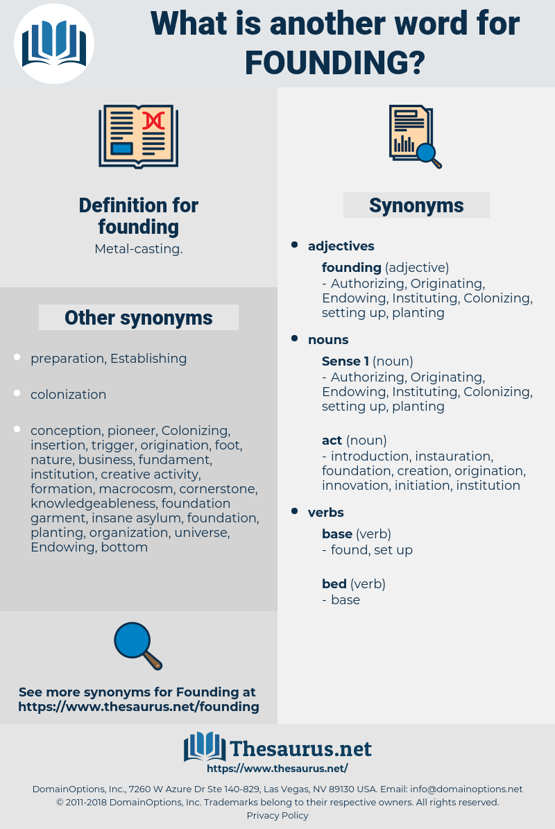 founding, synonym founding, another word for founding, words like founding, thesaurus founding