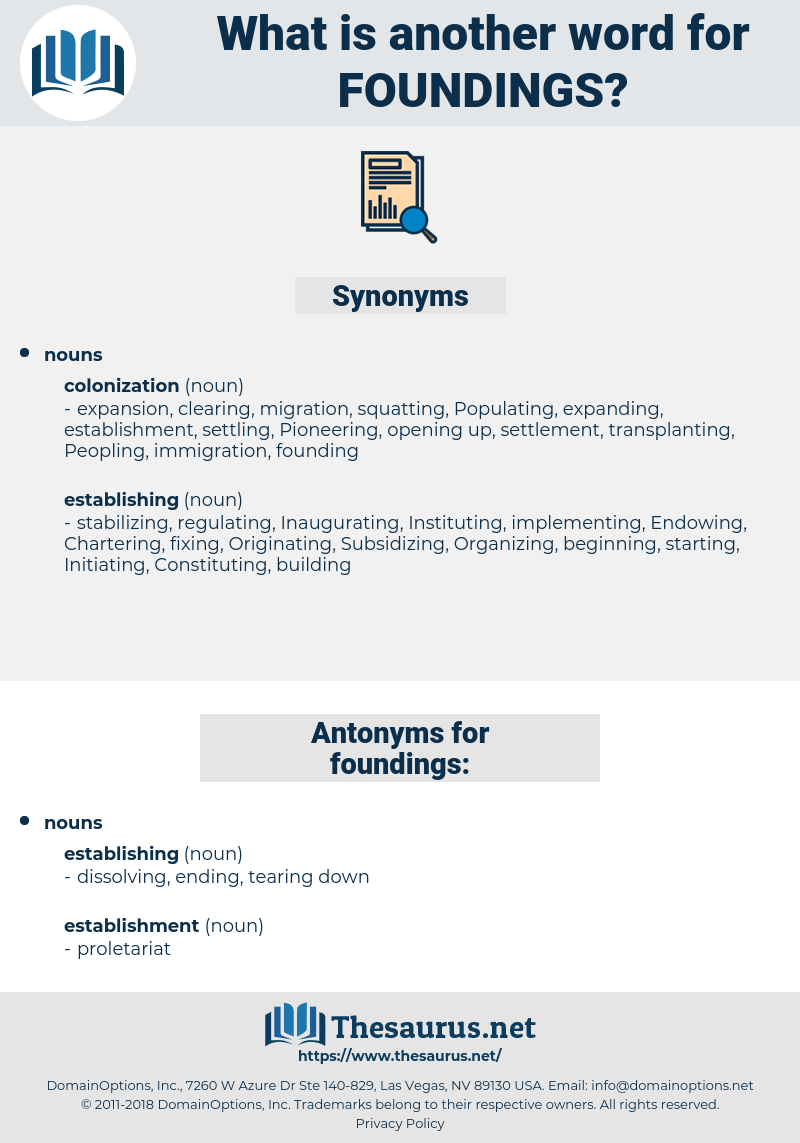foundings, synonym foundings, another word for foundings, words like foundings, thesaurus foundings
