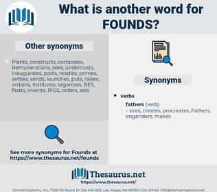 founds, synonym founds, another word for founds, words like founds, thesaurus founds
