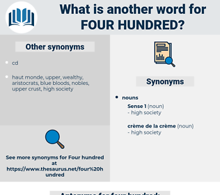 four hundred, synonym four hundred, another word for four hundred, words like four hundred, thesaurus four hundred