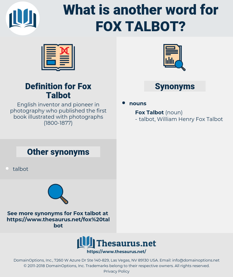 Fox Talbot, synonym Fox Talbot, another word for Fox Talbot, words like Fox Talbot, thesaurus Fox Talbot