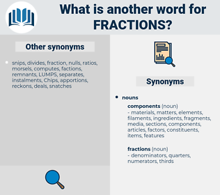 fractions, synonym fractions, another word for fractions, words like fractions, thesaurus fractions