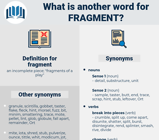 fragment, synonym fragment, another word for fragment, words like fragment, thesaurus fragment
