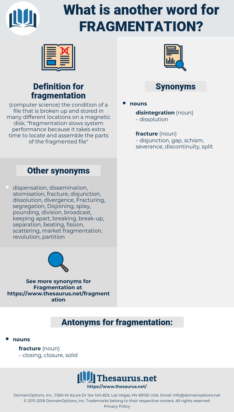 fragmentation, synonym fragmentation, another word for fragmentation, words like fragmentation, thesaurus fragmentation