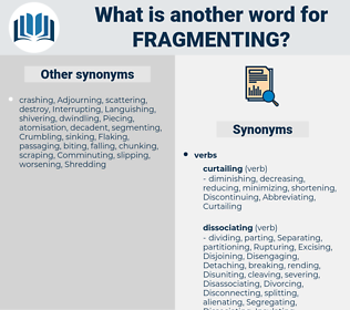 fragmenting, synonym fragmenting, another word for fragmenting, words like fragmenting, thesaurus fragmenting