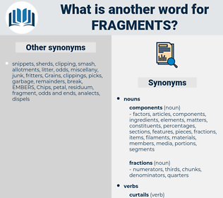 fragments, synonym fragments, another word for fragments, words like fragments, thesaurus fragments