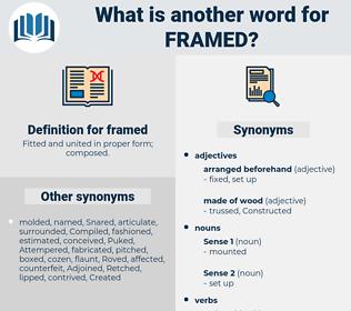 framed, synonym framed, another word for framed, words like framed, thesaurus framed