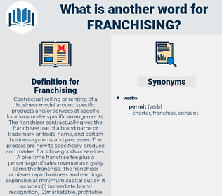 Franchising, synonym Franchising, another word for Franchising, words like Franchising, thesaurus Franchising