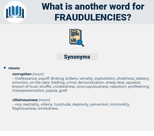 fraudulencies, synonym fraudulencies, another word for fraudulencies, words like fraudulencies, thesaurus fraudulencies