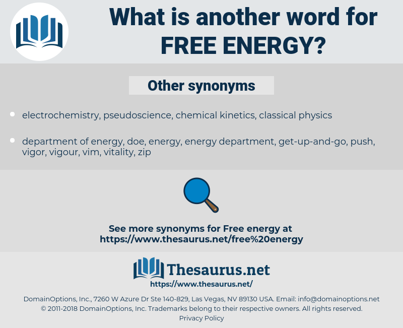 free energy, synonym free energy, another word for free energy, words like free energy, thesaurus free energy