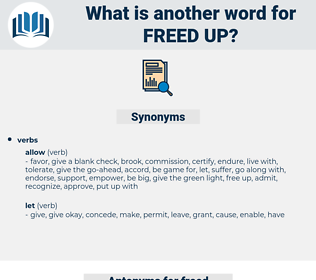 freed up, synonym freed up, another word for freed up, words like freed up, thesaurus freed up