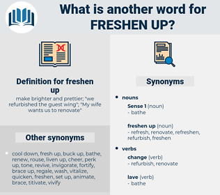 freshen up, synonym freshen up, another word for freshen up, words like freshen up, thesaurus freshen up