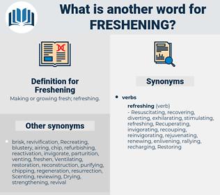 Freshening, synonym Freshening, another word for Freshening, words like Freshening, thesaurus Freshening