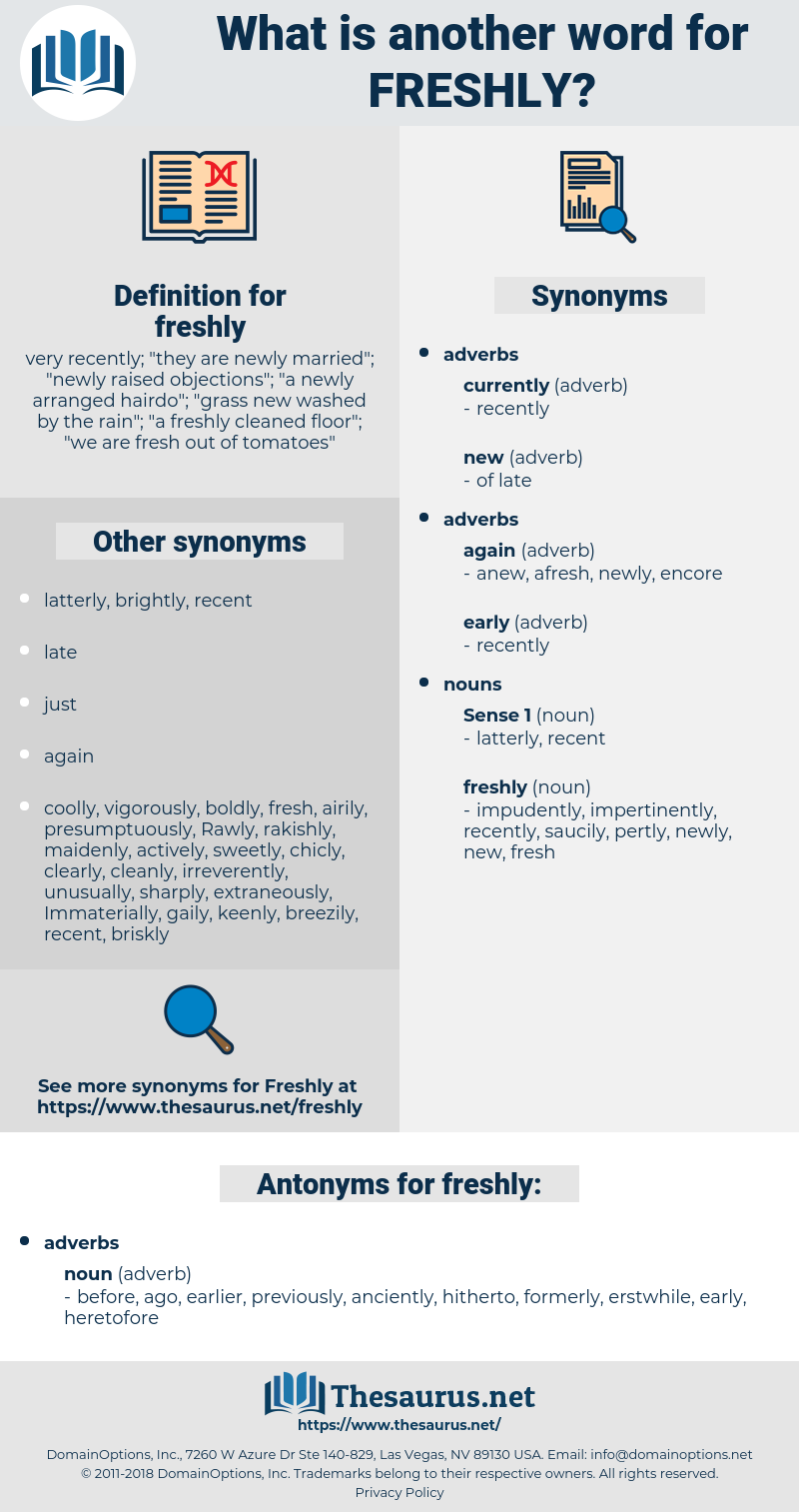 freshly, synonym freshly, another word for freshly, words like freshly, thesaurus freshly