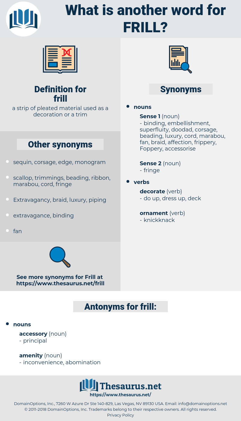 frill, synonym frill, another word for frill, words like frill, thesaurus frill