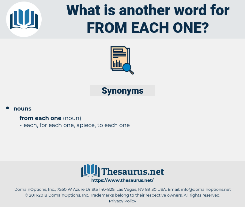 from each one, synonym from each one, another word for from each one, words like from each one, thesaurus from each one