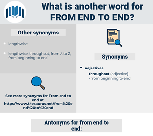 from end to end, synonym from end to end, another word for from end to end, words like from end to end, thesaurus from end to end