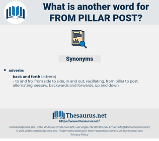 from pillar post, synonym from pillar post, another word for from pillar post, words like from pillar post, thesaurus from pillar post