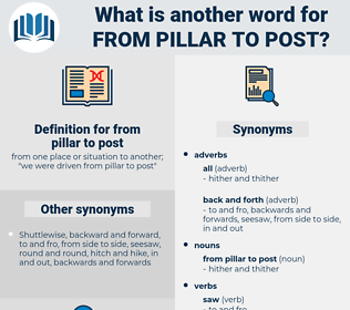 from pillar to post, synonym from pillar to post, another word for from pillar to post, words like from pillar to post, thesaurus from pillar to post