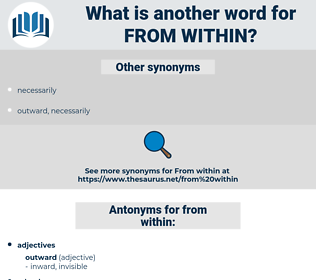 from within, synonym from within, another word for from within, words like from within, thesaurus from within