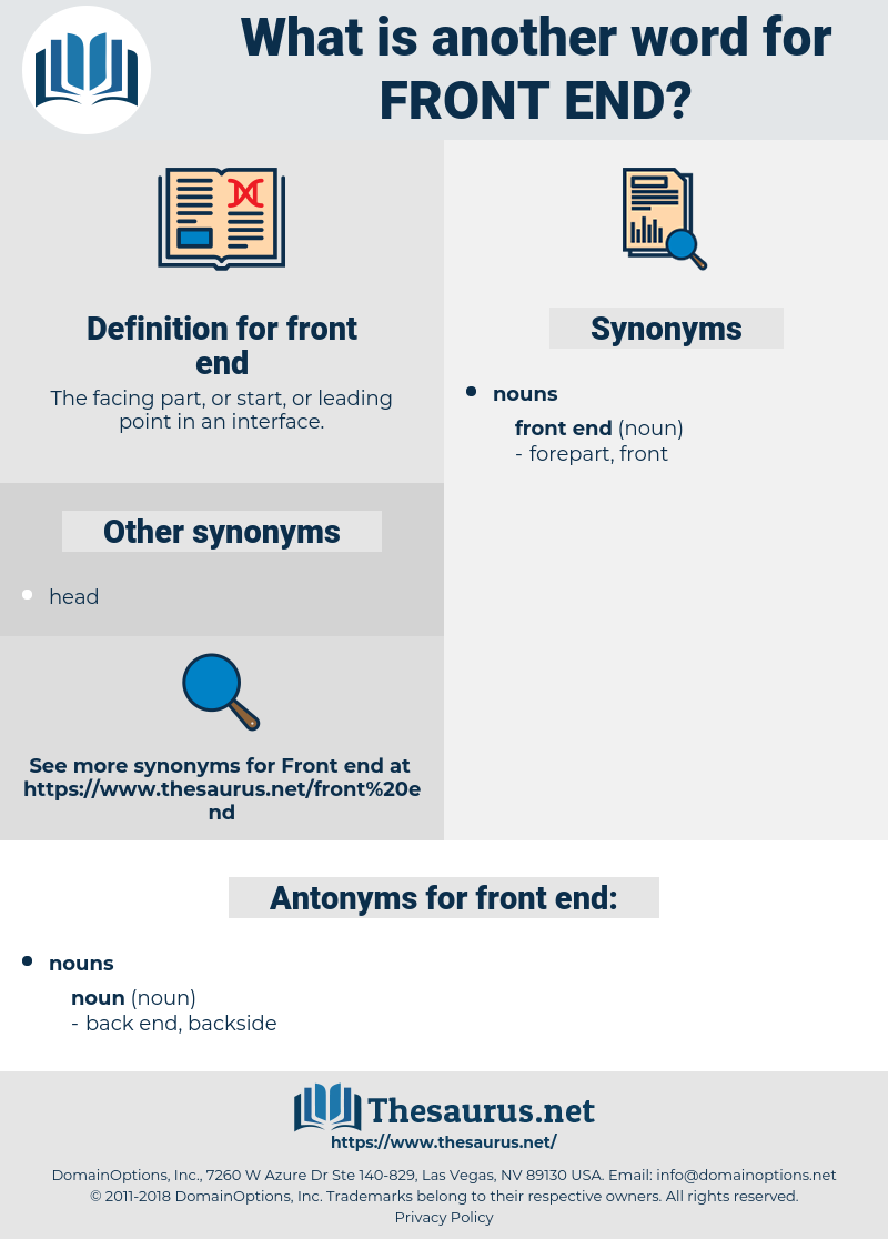 front end, synonym front end, another word for front end, words like front end, thesaurus front end