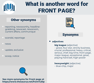 front page, synonym front page, another word for front page, words like front page, thesaurus front page