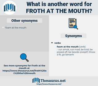 froth at the mouth, synonym froth at the mouth, another word for froth at the mouth, words like froth at the mouth, thesaurus froth at the mouth