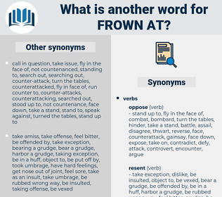 frown at, synonym frown at, another word for frown at, words like frown at, thesaurus frown at
