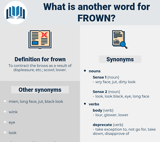 frown, synonym frown, another word for frown, words like frown, thesaurus frown