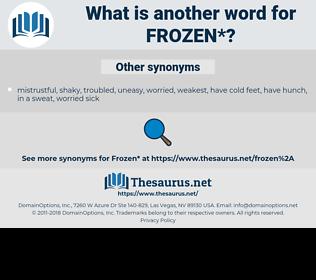 frozen, synonym frozen, another word for frozen, words like frozen, thesaurus frozen