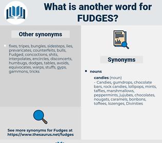 fudges, synonym fudges, another word for fudges, words like fudges, thesaurus fudges