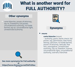 full authority, synonym full authority, another word for full authority, words like full authority, thesaurus full authority